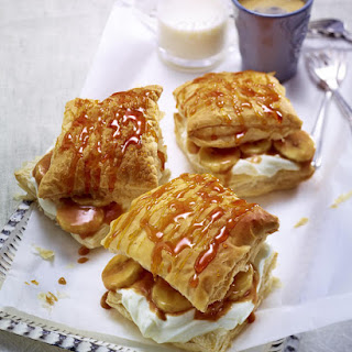 Banana Caramel Puff Pastry Slices.