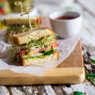 Mexican Avocado Spread Sandwiches with Sprouts.