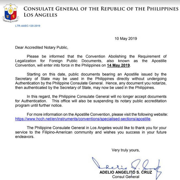 Philippine Consulate Accredited Notary Public for Red Ribbon