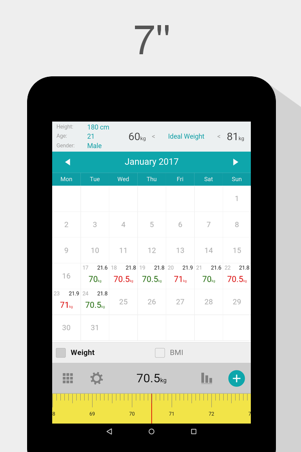 Weight Calendar - BMI & Weight Loss Tracker - Android Apps ...
