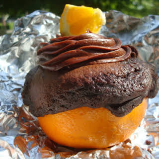 Chocolate Cakes Grilled in Orange Shells.