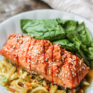 Honey-Lime Sriracha Salmon with Cold Sesame Cucumber Noodle Salad.