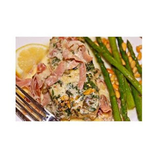Halibut in Prosciutto-Herb Cream Sauce.