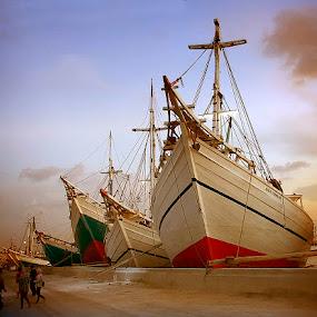 traditional boats by Hatdy Tridjaja - Transportation Boats