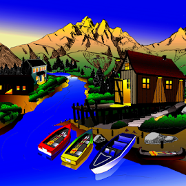 MOUNTAIN  RIVER VILLAGE AT DUSK by Gerry Slabaugh - Painting All Painting ( mountain, dusl, dusk, sunset, river, village, evening, digital art )