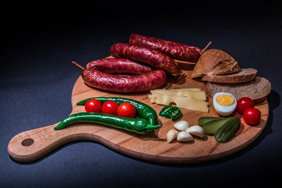 Plate by Mario Horvat - Food & Drink Plated Food ( black background, sausage, easter, garlic, bread, chees, plate, plated food, egg, pepperoni, tometo,  )