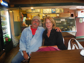 Photo: Day 50 August 7 Oneida to Herkimer NY  Terry and Alice Berkson, who we met at the Pizza Plus restaurant. From Brooklyn, they summer in this area. Terry is a writer and has a web site www.terryberkson.com.