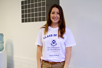 Photo: Holly wearing her UQ colours with pride