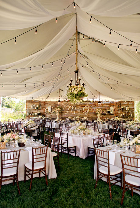 Beautiful Wedding Tent Ideas: Rustic Tent with Wooden Accents