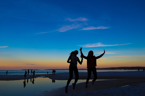 Jumping in Joy  by Faisal Enam - Landscapes Beaches ( girls, jumping, sunset, beach, what a feeling, seascape, landscape,  )