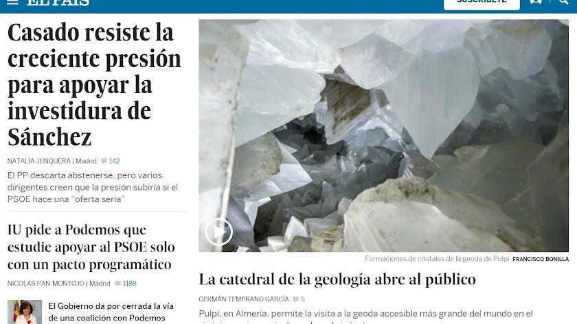 Portada de El País en la noche del viernes al sábado.