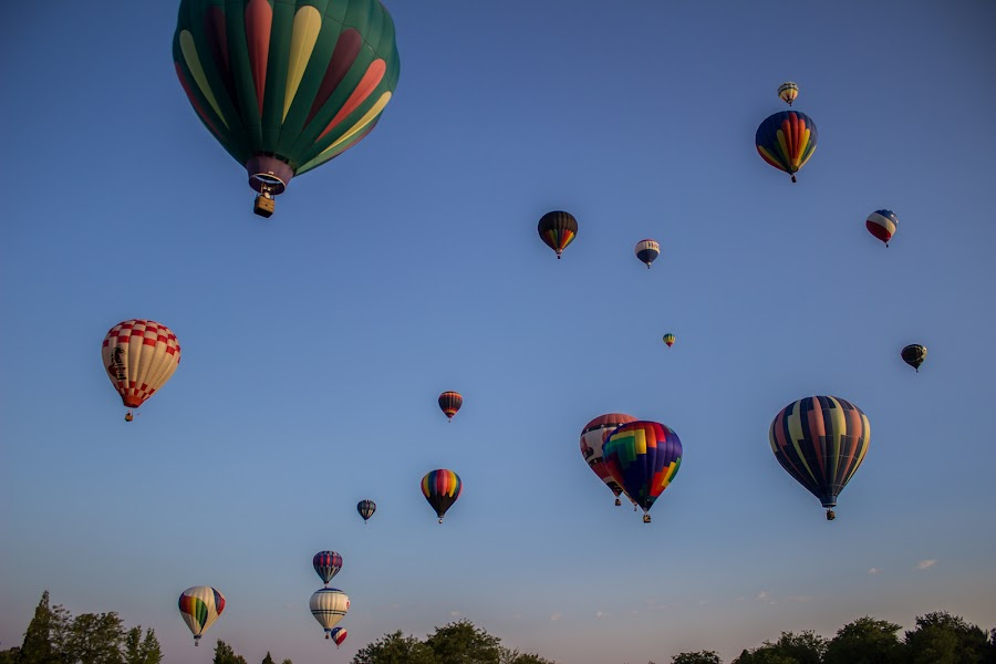 Full Skies by Paul Cushing - Transportation Other ( flight, boise, colorful, hot air balloons, balloons )