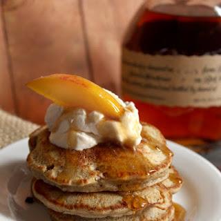 Peach 'n Bourbon Buckwheat Pancakes w/ Minty Whipped Cream