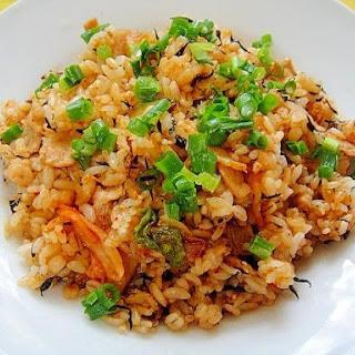 Kimchee Chahan (Fried Rice) with Pork and Hijiki Seaweed