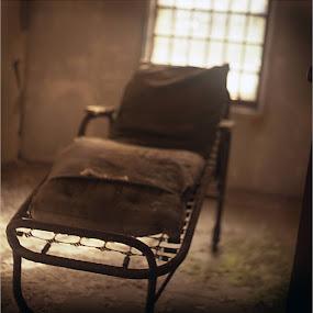 Hospital Series -  by Melinda Amaral-Pimentel - Landscapes Travel ( eerie, bed, surreal, horror, abandoned hospital )