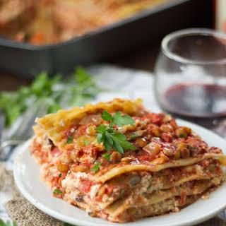 Vegan Mushroom Lentil Lasagna.