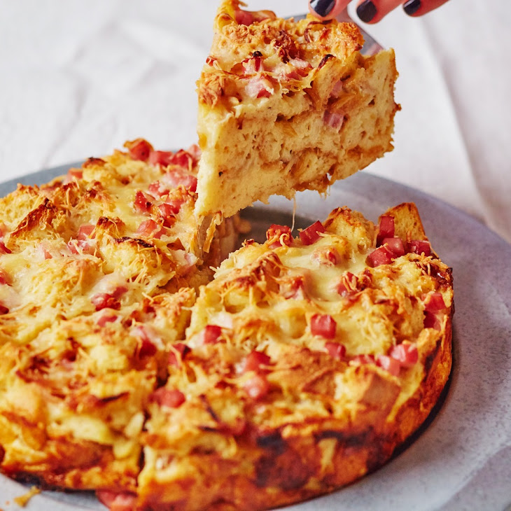 Caramelized Onion, Ham, and Provolone Breakfast Bread Pudding