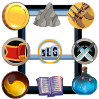 8 icons for board game designers to use in their games. The Streamlined Gaming logo in the middle and a blue card art template in the background
