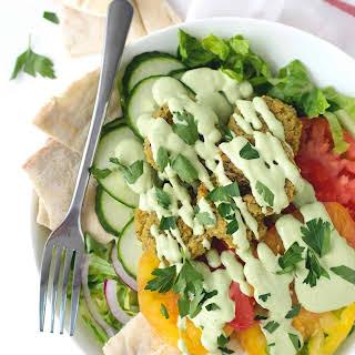 Falafel Salad With Tahini Parsley Dressing.