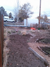 Photo: unfinished bed- I moved the compost bin system and am putting a cold frame it- at the far end there