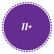 11+ in purple circle