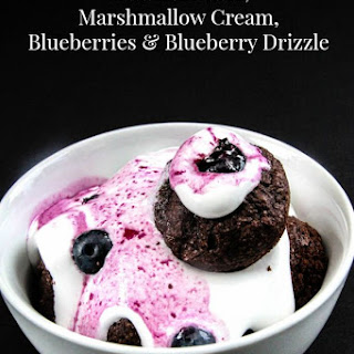Mini Brownies with Marshmallow Cream and Blueberry Drizzle