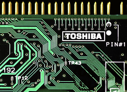 A Toshiba logo is seen on a printed circuit board. Picture: REUTERS