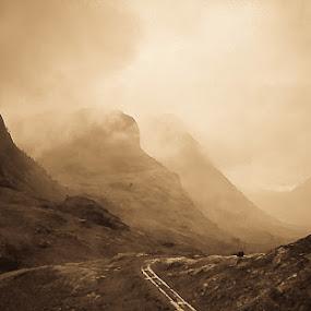 Glen Coe by Stefen Dicks - Landscapes Travel ( glen coe, massacre, clouds, scotland, sepia, wilderness, battle, nature, track, landscape, highlands )