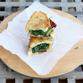 Garlicky Grilled Cheese with Spinach and Bacon
