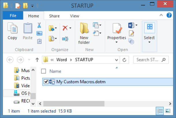 Copy dotm or link to dotm into startup folder