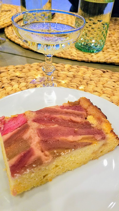 Our Secret Supper Leap Dinner, Rhubarb Upside Down Lemon Cake with jasmine syrup
