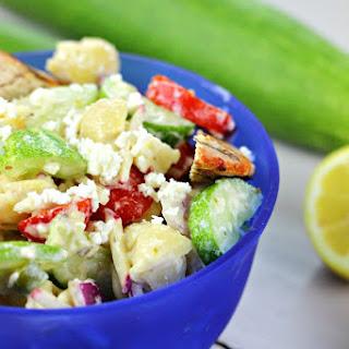 Skinny Spicy Cucumber Pasta Salad