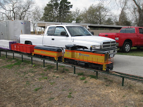 Photo: Richard Osborn's train with his truck and trailer.  2009-0227