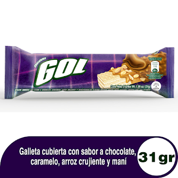 Chocolatina Gol Cubierta   De Caramelo X31G. X1Und.