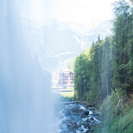 View through water Cascade by Meeta Thakur - Landscapes Travel ( view, waterfall, travel, landscape, photography )
