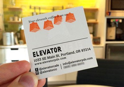 A coffee shop rewards punch card.