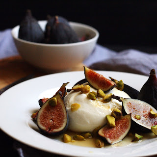 Burrata with Figs, Honey and Roasted Pistachios.
