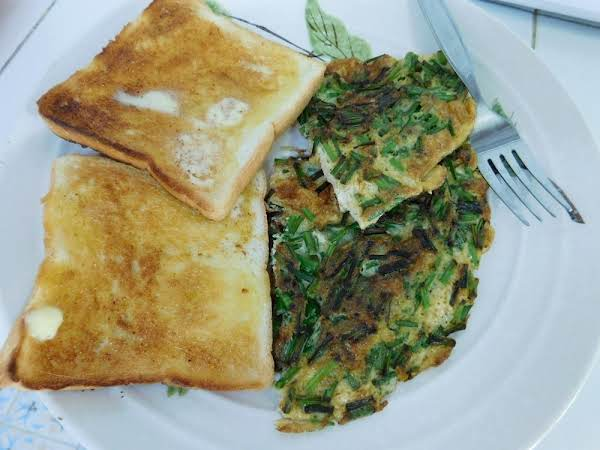 Chives Omelet With Buttered Toast.