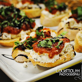 Roasted Tomato, Goat Cheese and Feta Bruschetta