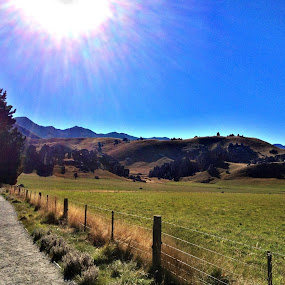 Newzealand by Suvajee Panmatanee - Instagram & Mobile iPhone ( ray, sky, mountain, tree, grass, blue, green, newzealand, beautiful, rock, landscape )