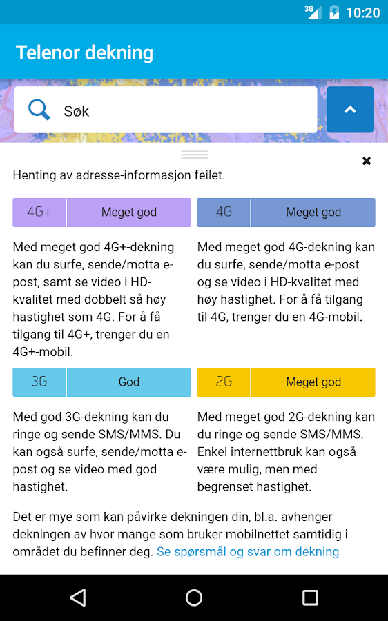 Telenor dekning- screenshot