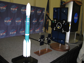 Photo: Models of the Delta II rocket and the GRAIL spacecraft