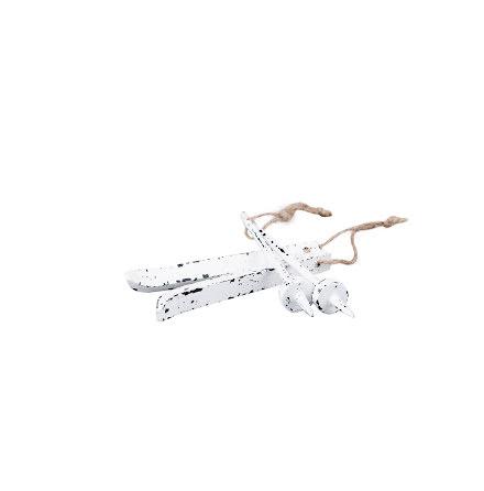 Skidor & stavar shabby vit - hänge 10 cm