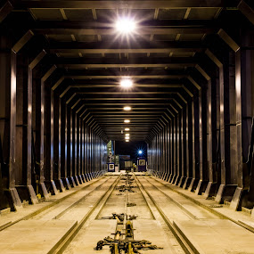 Rail Barge at Night by Jason Rose - Products & Objects Industrial Objects ( rail barge, rails, container racks )