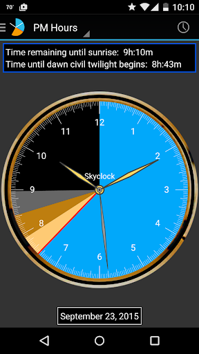 Skyclock app for Android screenshot