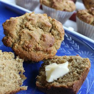 Banana Rhubarb Peach Muffins [Vegan, Gluten-Free]