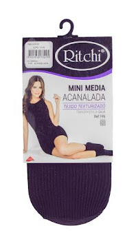 Medias Ritchi Mini   Acanalada Lycra Única Negro X1Und.