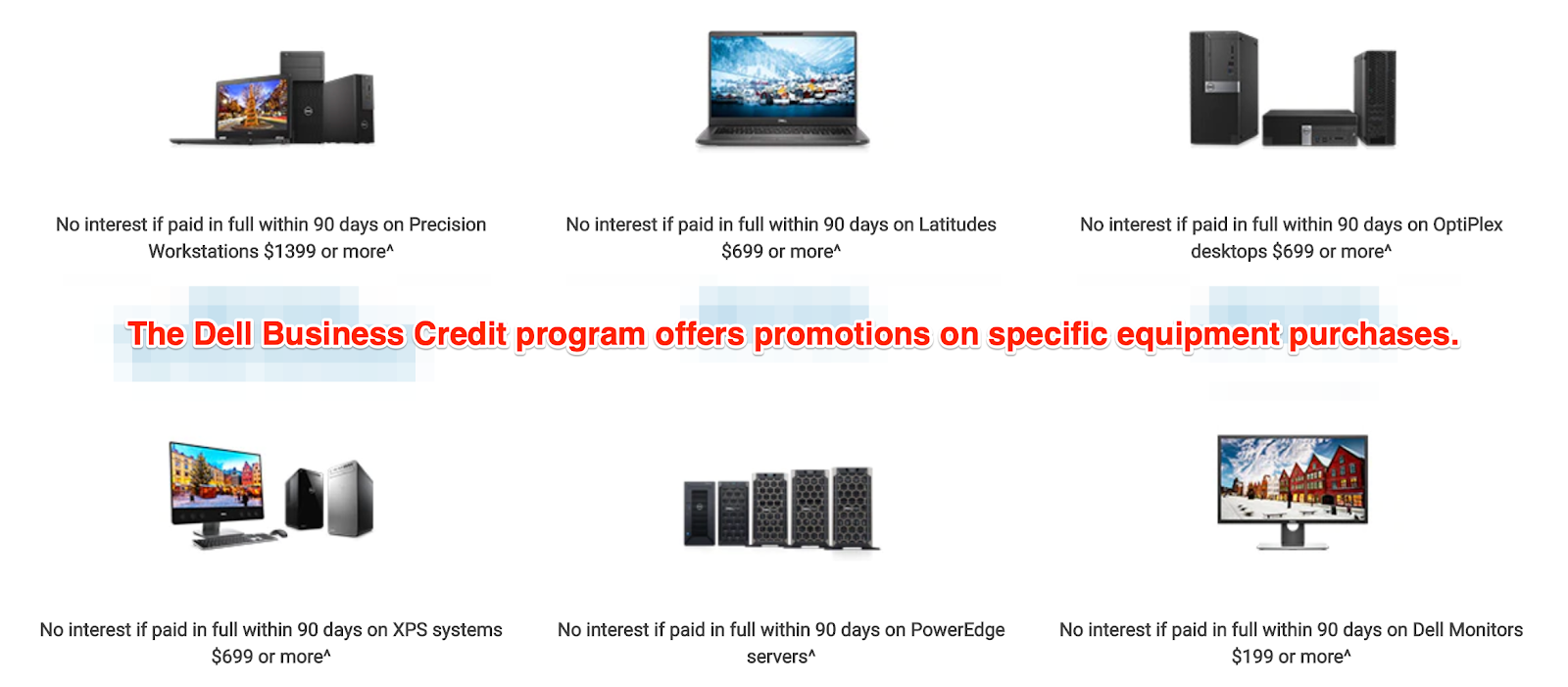 Dell Business Credit Offers Promotional Pricing on Specific Equipment