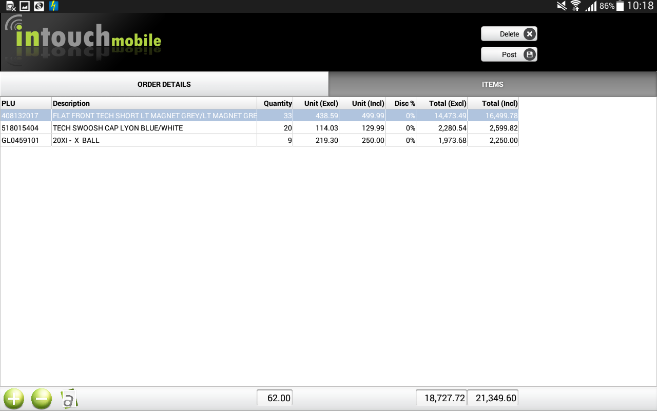 Intouch Sales Orders- screenshot