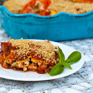 Vegan Zucchini Lasagna With Pesto and Portobello Mushrooms.